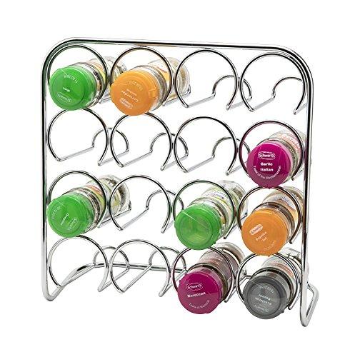 Estante de especias Pisa®, soporte de metal cromado, metal, 16 Jar Capacity