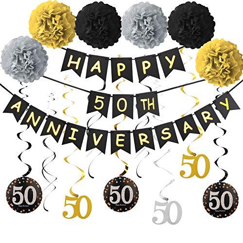 50th Anniversary Decorations Kit - 50th Wedding Anniversary Party Decorations Supplies - Including Gold Glitter Happy 50th Anniversary Banner / 9Pcs Sparkling 50 Hanging Swirl /6Pcs Poms