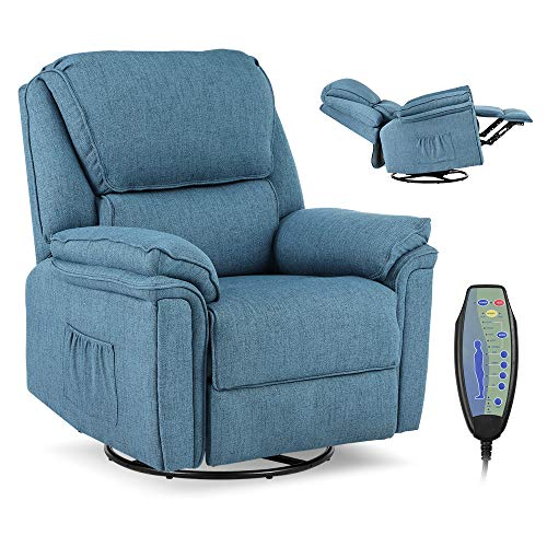 Massage Recliner Chair with Lumbar Heating, Ergonomic Rocker Lounge Chair, Reclining Sofa for Living Room, 360 Degree Swivel, Side Pocket & Remote Control. (Fabric - Blue)