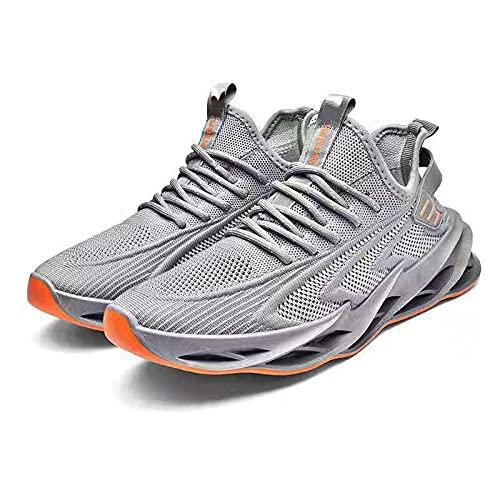 Fnho Zapatillas Deportivas para Correr,Zapatos Deportivos para Correr,Calzado Deportivo Transpirable, Zapatos de Marea Zapatos Casuales-Gris_41