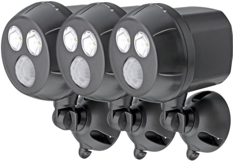 Mr Beams drahtloser, batteriebetriebener, heller LED Spot mit Bewegungssensor für den Innen & Auenbereich braun MB393 (3er-Pack)