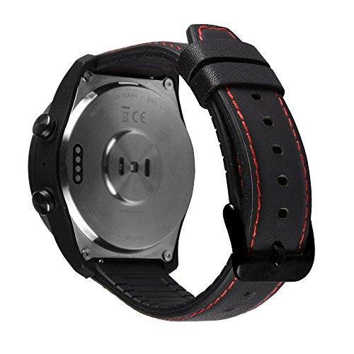 Pinhen Horlogeband voor Huawei Watch 2, klassieke horlogeband, 22 mm, lederen reservearmband, verstelbare armband met ventilatiegaten voor Huawei Watch 2 Classic, Silicone zwart