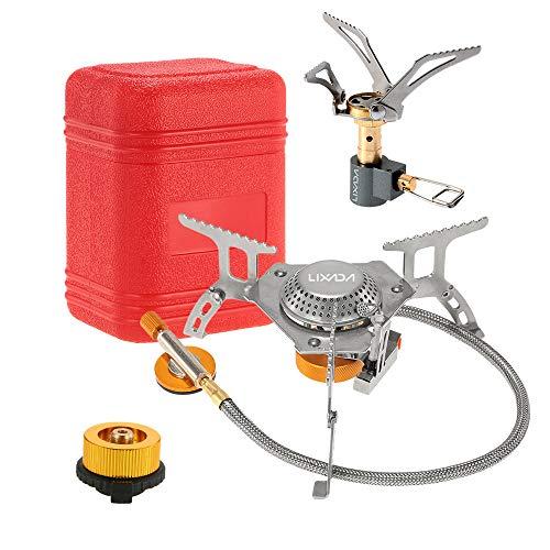 Lixada Camping Cookware Set,3000W Folding Mini Pocket Stove Camping Gas Stove Split Burner with Gas Conversion Head Adapter