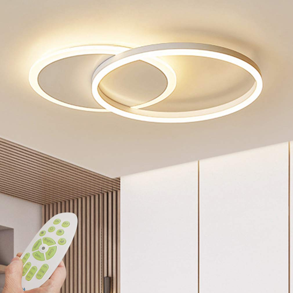 Modern Dimmable Led Ceiling Light Living Room Lamp With Remote Control Fashion Ceiling Lamp Minimalist Metal Acrylic Ring Designer Ceiling Lamp Lighting Bedroom Kitchen Dining Room Lights White 2 Ring Buy Online In