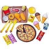 Juguetes de comida rápida para fiestas de pizza, juguetes de comida rápida para niños, juguetes educativos para niños, regalo de cumpleaños o regalo de vacaciones para niños pequeños, no tóxicos.