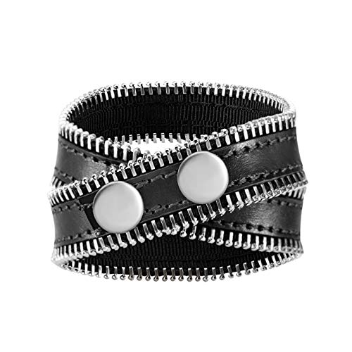 Emibele Leather Bracelet for Women, Dual Loops Wrap Bracelet Single Loop Necklace with Chain Element, Minimalistic Style Personalized Fashion Wrist Accessory - Black