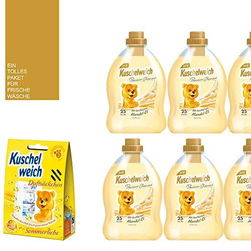 8tlg. Set: 6x750ml Kuschelweich Weichspüler/Premium Glamour / 150 WL/Mandel-Öl / 1 x Kuschelweich Duftsäckchen Box Sommerliebe / 1 x Mini-Bag von STUDIO.MUNET in Schwarz oder Weiß