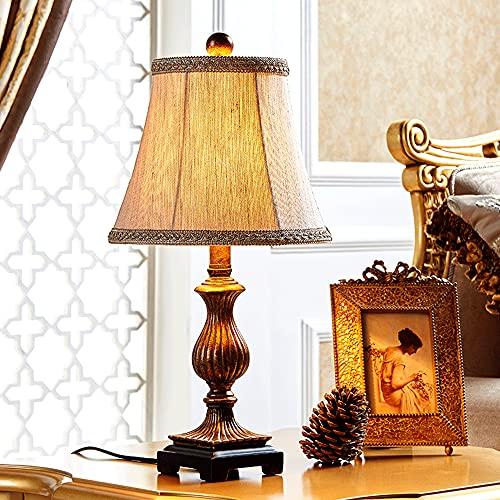 CYLYFFSFC Lámpara de mesa de pantalla de tela de resina simple retro americana, sala de estar cálida y romántica, decoración de dormitorio de estudio europeo creativo, interruptor de botón, lámparas d
