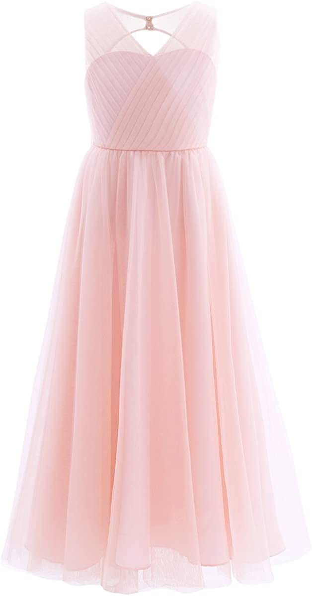 iEFiEL Girls Cross V-Neck Tulle Flower Girl Dress Junior Bridesmaid Pageant Prom Long Gown