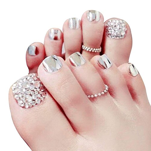 Skyvan Set of 24 False Nail for Toe Chic Exquisite Bling Rhinstones Bridal Fake Nail for Toes Full Cover Nail...