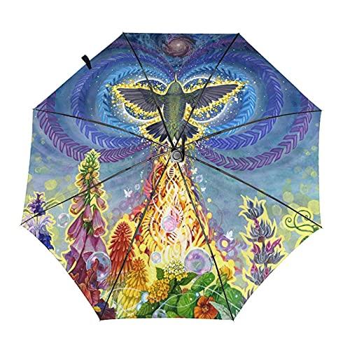 Donono Paraguas automático de tres pliegues 3d ardiente Phoenix Clorful Flores a prueba de viento Protección UV Paraguas de lluvia dentro de impresión para uso diario