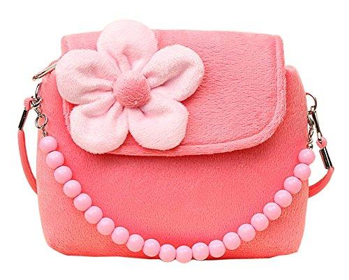 Cosanter Kinderrucksack Mini Handtasche Süß Kinder Backpack mit Plüsch Blumen für Mädchen Rosa