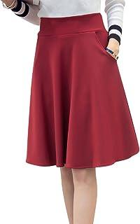 Womens Pleated Swing Skirt Plain Flared Elastic Waist Ladies Short Skater Skirt