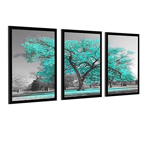 Decoración 3 piezas verde azulado árbol paisaje blanco y negro cuadro impreso premium galería decoración decoración pared decoración para sala de estar moderna oficina marco estilo 1 30 x 45 cm
