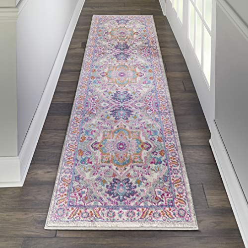 Nourison PSN20 Passion Persian Colorful Light Grey/Pink Area Rug Runner 1'10' X 6', 2' x 6'