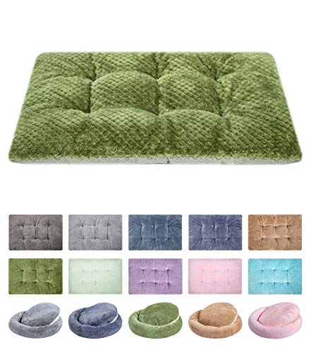 """WONDER MIRACLE Fuzzy Deluxe Pet Beds, Super Plush Dog or Cat Beds Ideal for Dog Crates, Machine Wash & Dryer Friendly (15"""" x 23"""", S-Olive Green) Beds"""