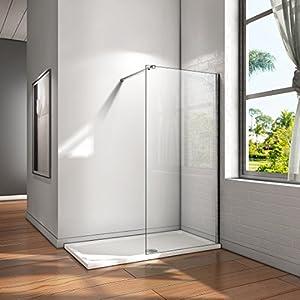 Mampara ducha Panel Pantalla Fija cristal 8mm templado para baño Barra 73-120cm (Panel 80x200cm)
