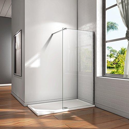 Mampara ducha Panel Pantalla Fija cristal 8mm templado para baño Barra 73-120cm (Panel 60x200cm)
