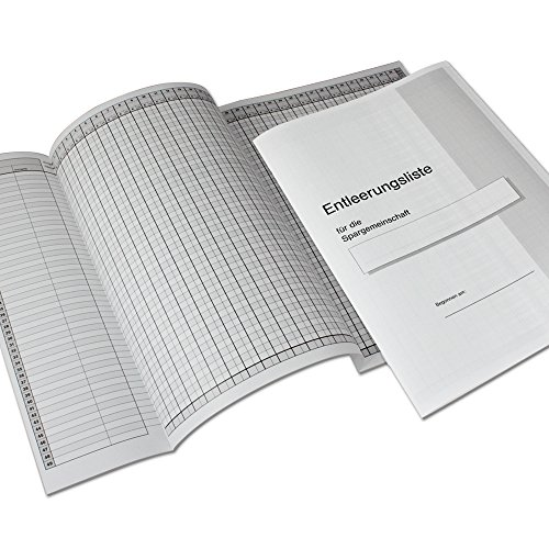 HMF 105109 Entleerungsliste, Auszahlungsliste für HMF Sparschrank 25-98 Sparfächer