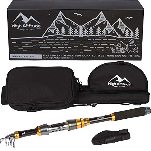 High Altitude Brands Lightweight Portable Telescopic Fishing Pole, Case and Available with Spinning Reel Rod Combo, Motorcycle, Car, Hiking, Backpacking, Wheelchair Travel Gear, Collapsible Poles 6