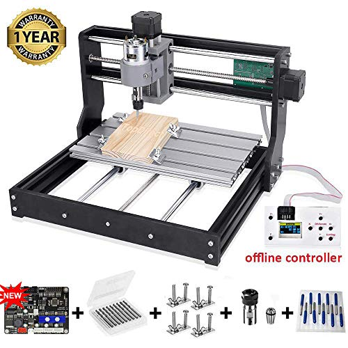 【Upgraded Version】CNC 3018 Pro Engraving Machine, 300*180*45mm, 3 Axis Mini DIY CNC Router Machine, PCB Wood Plastic Milling Machine with Offline Controller + 5mm ER11 Extension Rod + 10pcs CNC Bits