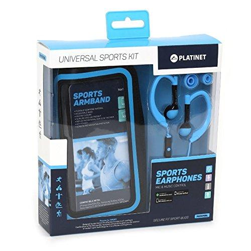 Platinet Sport, koptelefoon + MIC + ARMBAND BLAUW
