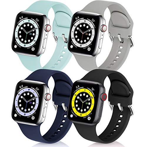 eCamframe Bands Compatible with Apple Watch Band 40mm 38mm 42mm 44mm, 4 Pack Soft Silicone Sport Replacement Wristband Compatible with iWatch Series 6 5 4 3 2 12 & SE Men Women