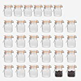Encheng 4 oz Glass Jars With Airtight Lids And Leak Proof Rubber Gasket,Small Mason Jars With Hinged Lids For Kitchen, Mini Spice Jars With Twine And Tags Labeling 30 Pack