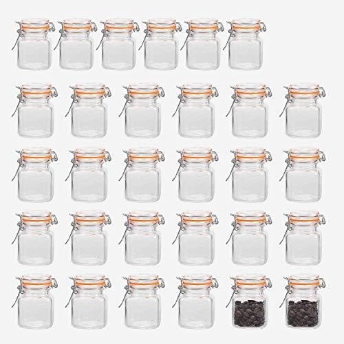 Encheng - Botes de cristal con tapas herméticas y junta de goma a prueba de fugas, tarros pequeños con tapa con bisagras para cocina, mini tarros de especias, 30 unidades