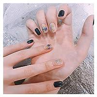 人気 24ピースの女性の偽の爪3 dシェルスタームーンリベットオーシャンブルーの短い虚偽の釘の接着剤ハイブリッドアクリルフィンガーファックス