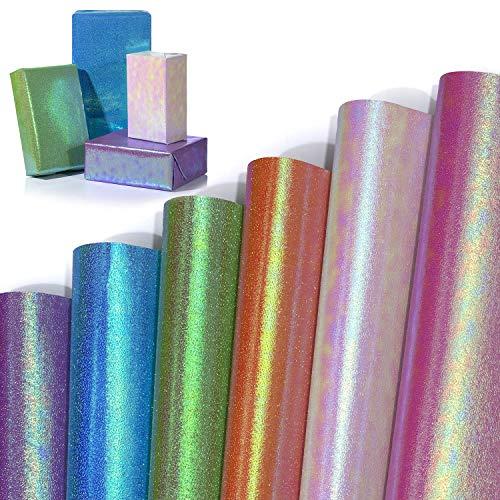 Papel de Regalo, Jolintek 6 Hojas Colorido Papel Regalo, Papel Envolver Holográfico Arcoíris Papel de Regalo Cumpleaños, Papel Embalar para Cumpleaños, Navidad, San Valentín, Baby Shower, 70x50cm