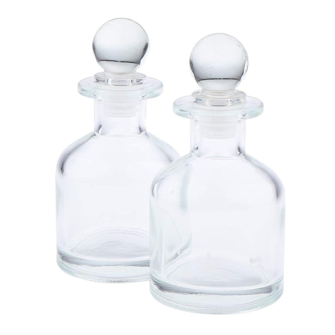 長老心理的に収益F Fityle 2個 香水ディフューザーボトル ガラス瓶 丸い クリア 部屋装飾 インテリア 2サイズ選べ - 130ミリリットル