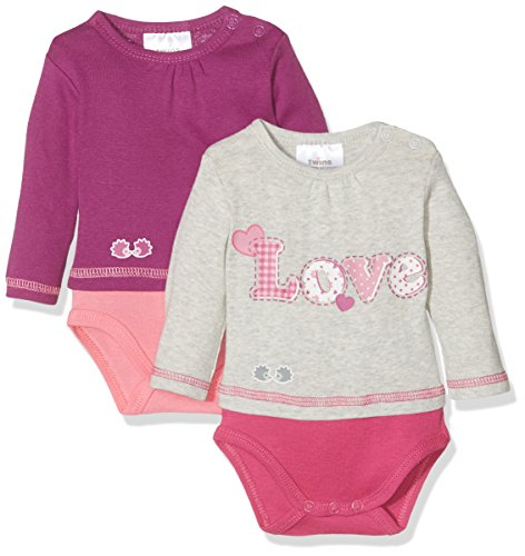 Twins Unisex Baby Body Love, 2er Pack, Rosa (pink 3501), 6-9 Monate (Herstellergröße: 74)