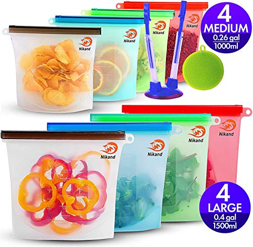 Silicone Bags Reusable Silicone Food Bag Reusable Sandwich Bags Ziplock Bags Silicone Storage Bags...