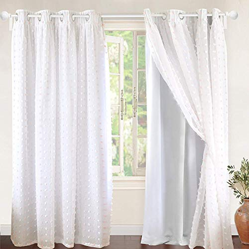 DriftAway Lily White Pinch Pleated Voile Sheer Blackout Curtain Liner Embroidered with Pom Pom 2 Layers Grommet Curtain for Kids Nursery Room 52 Inch by 84 Inch Blackout Soft Pink 2 Panels