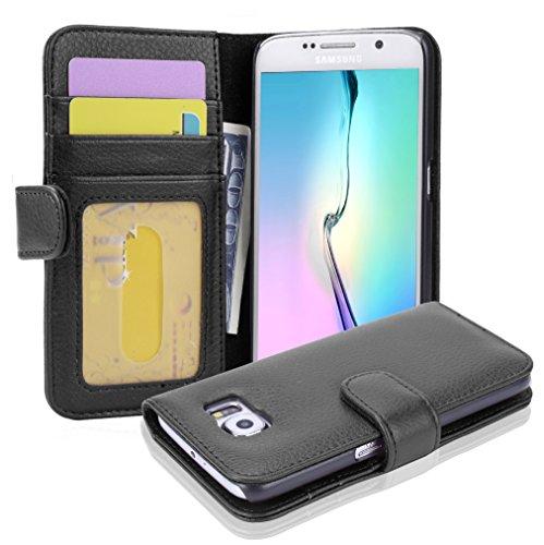 cover a portafoglio samsung s6 Cadorabo Custodia Libro per Samsung Galaxy S6 in NERO PROFONDO - con 3 Vani di Carte e Chiusura Magnetica - Portafoglio Cover Case Wallet Book Etui Protezione