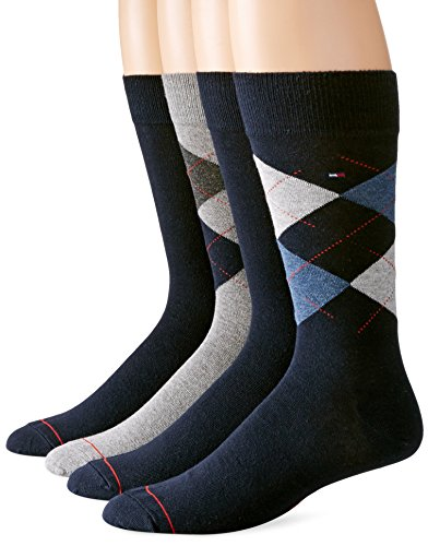 Tommy Hilfiger Men's 4 Pack Argyle Crew Socks, Navy, 10-13/7-12