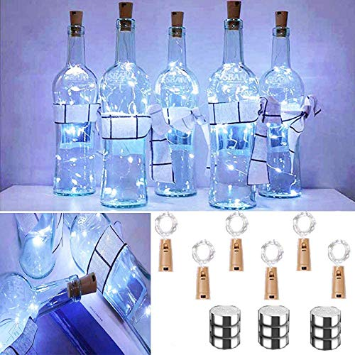 Chipark Bottle Lights with Cork, 6 Pack Cork Shaped Battery Operated Wine String Lights Silver Wire Fairy Mini DIY Lights for Party Birthday Christmas Wedding Home Table Décor, Cool White