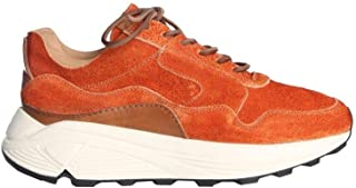 BUTTERO Men's B8020VARC11 Orange Leather Sneakers