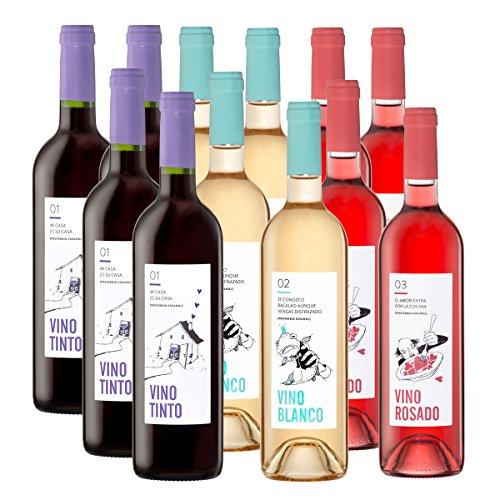 Wein-Probierpaket Spanische Weine   Hausweine im Set - Rotwein, Weißwein, Roséwein   D.O. Utiel-Requena   Trocken und fruchtig   Spar-Set mit 12 Flaschen
