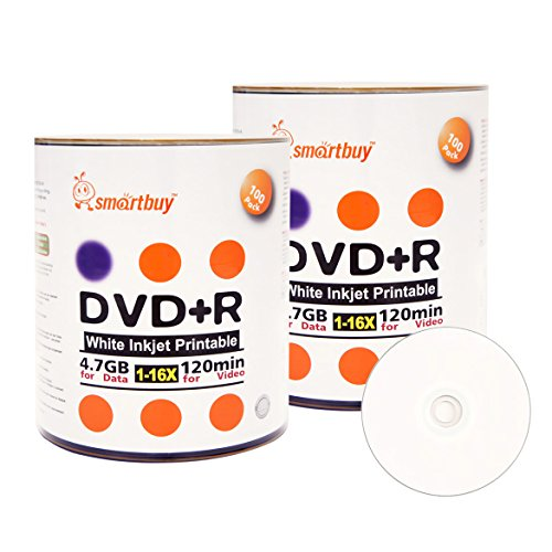 Smart Buy 200 Pack DVD+R 4.7gb 16x White Printable Inkjet Blank Media Record Disc, 200 Disc 200pk