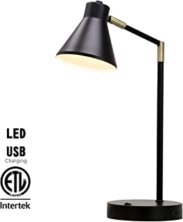 O'Bright LED Desk Lamp with USB Charging Port, 100% Metal Lamp, 270° Flexible Swivel Arms, Soft White LED Reading Light (3000K), Bedside Reading Lamp, Office Lamp, Table Lamp, ETL Listed (Black)