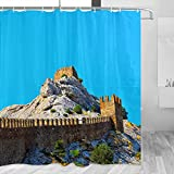 Italia Fortaleza Génova cortina de ducha viaje baño decoración conjunto con ganchos poliéster 72x72 pulgadas (YL-03126)