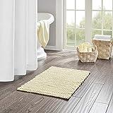 Madison Park Lasso 100% Cotton Chenille Chain Woven Stitch Bathroom Rug-Non Slip-Absorbent, Quick Dry Bath Mat, 20x30, Yellow
