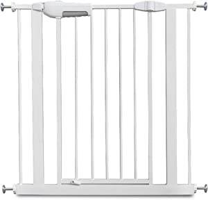 White Child Safety Door Fence  Punch Free  Pet Dog Isolation Fence  Stairway Balcony Isolation Fence Fence  Automatic Closing Safety Fence  Color 75cm-83cm