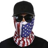 Senchanting 3D Face Sun Mask Neck Gaiter Balaclava Headwear Bandana for Outwork(American Flag-4)