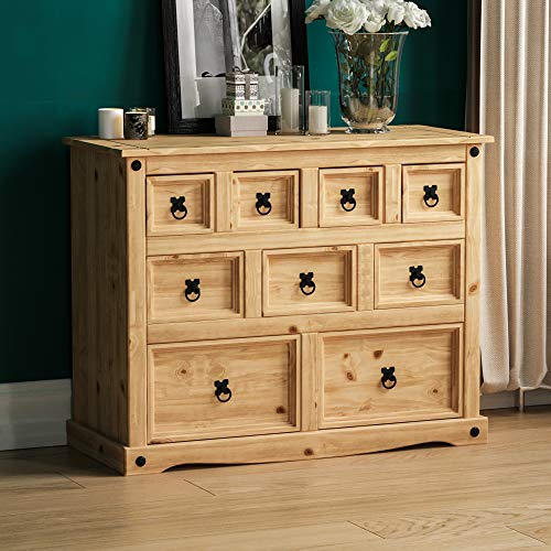 Vida Designs Corona Merchant Chest Of Drawers, 9 Drawer, Solid Pine Wood
