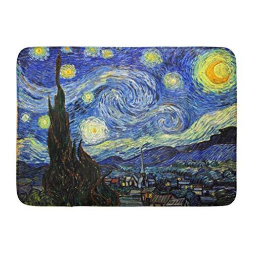Sunny R Noche Estrellada Vincent Van Gogh 1889 Alfombra de Entrada Duradera Respaldo Antideslizante Alfombra de Bienvenida Suave Interior Al Aire Libre 15.7×23.5 Pulgadas