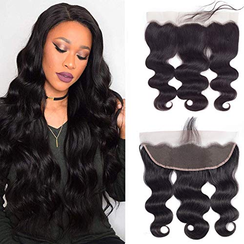 13x4 Ear to Ear Lace Frontal Closure Brazilian Virgin Human Hair 14inch Body Wave Swiss Lace Frontal Closure Pre Plucked With Baby Hair Natural Color