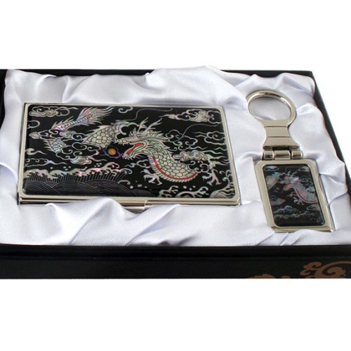 Set Porte-clés + Porte-cartes de visite Nacre Art Coréen MANGA DRAGON MYTHOLOGIE